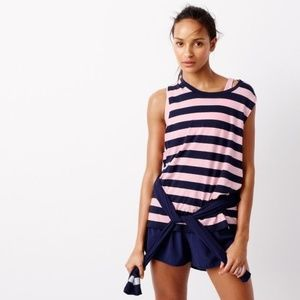 J.Crew Striped Muscle Tank Top in Pink & Navy